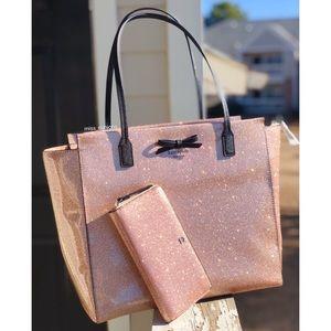 Kate Spade Mavis Street Glitter Tote Wallet Set
